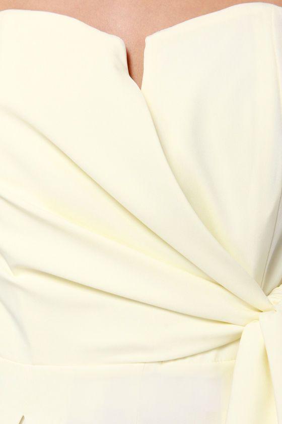 LULUS Exclusive Sash Money Strapless Cream Jumpsuit at LuLus.com!