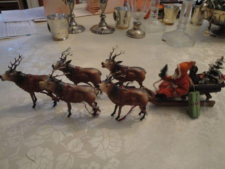 Einmalig seltene wunderschöne Rarität antiker Nikolaus mit Rentiere aus Masse  | eBay