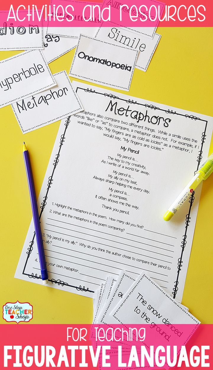 worksheet What Is A Metaphor Math Worksheet 53 best figurative language metaphors similes images on teacher resources for the classroom this bundle covers idioms