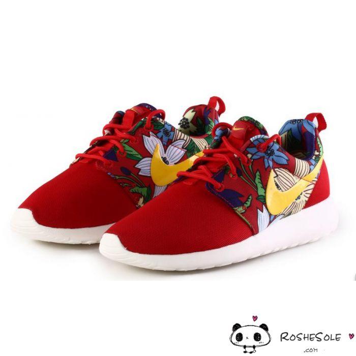 buy online c53c5 7f88b ... Nike Roshe Run Womens Mens Shoes Black Floral Red ...