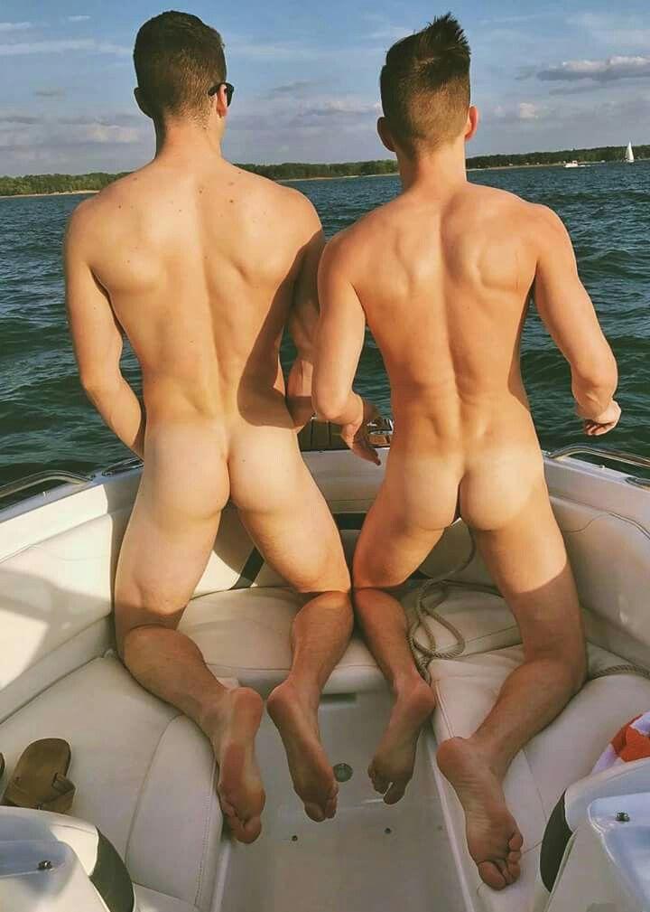 Naked men at the lake