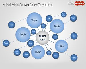 Free Mind Map PowerPoint template is an example of mind map created in Microsoft PowerPoint 2010