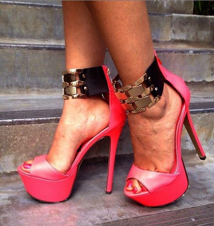 Attractive Red Ankle Strap Platform Heels