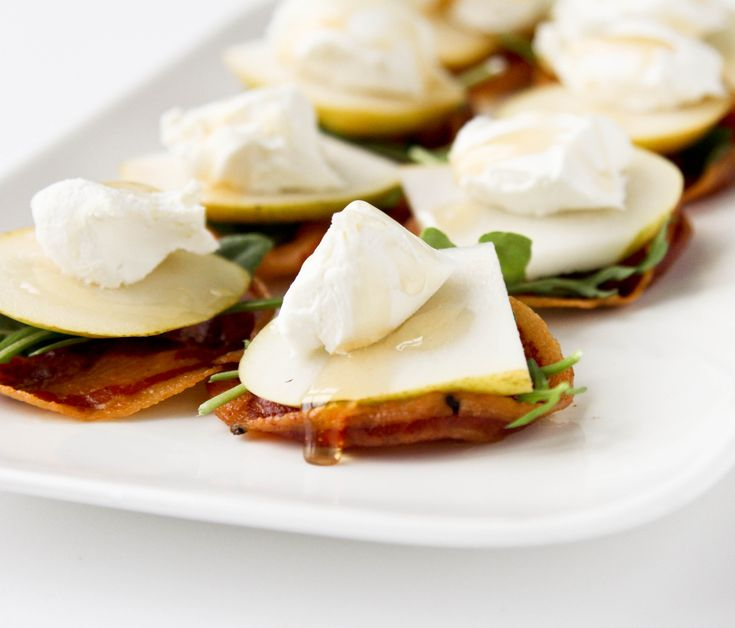 Pancetta Crisps with Pear, Goat Cheese, and Honey