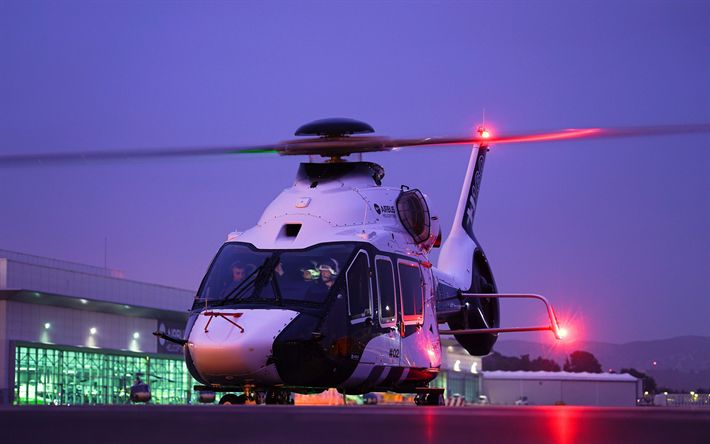 Download wallpapers Airbus H160, night, aerodrome, passenger helicopters, winter, H160, civil aviation, Airbus