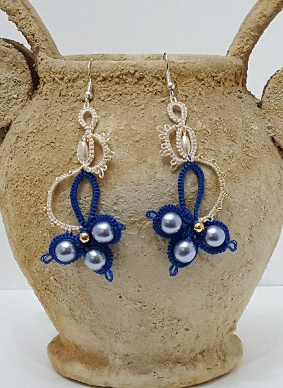 Coated beads earrings pendant, gift woman flower with colored beads, earring lace two colors, Bijoux lace with beads.