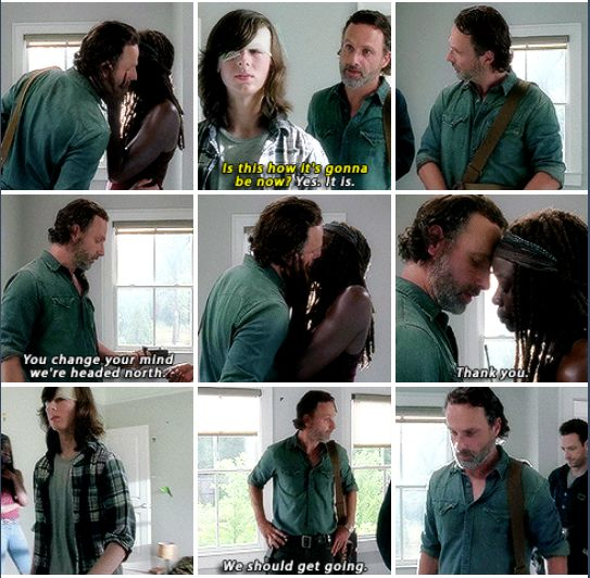 The Walking Dead  S7E5  Rick Grimes talking to Michonne and  his son Carl after Negan and his Saviors came to Alexandria.