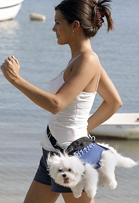 If you thought the fanny pack was bad, add a puppy!: