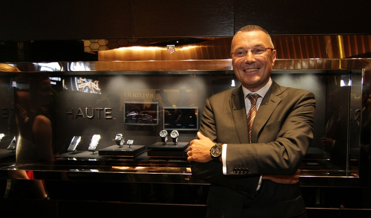 TAG Heuer global CEO Jean-Christophe Babin presenting the groundbreaking TAG Heuer Haute Horlogerie collection.