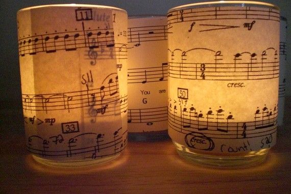 Sheet Music Tea Light Candle Holders  Set of 4 von customfavors