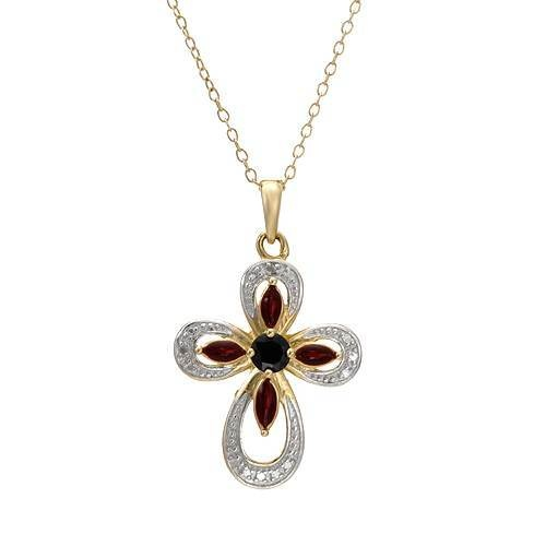 .925 s.s. genuine diamond sapphire cross necklace 18 in. Starting at $8 on Tophatter.com!