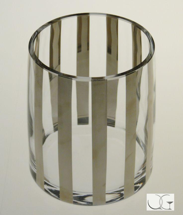 Wazon szklany Platynowe wstęgi h-15