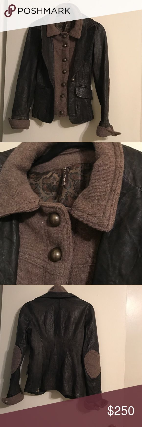 Manila Grace jacket Very pretty leather jacket with wool, elbow patches, hard to capture its beautiful on pictures! Awesome deal. Made in Italy. Like new Manila Grace Jackets & Coats
