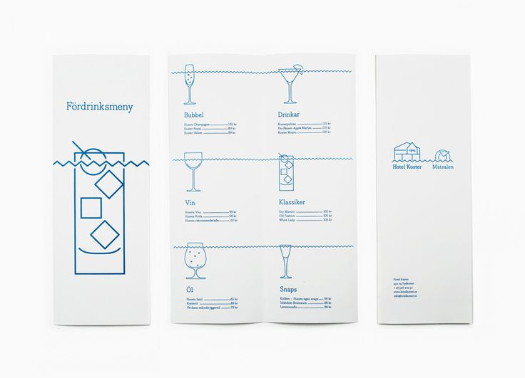 Menus designed by Bedow for Swedish oceanside accommodation and conference centre Hotel Koster. Featured on bpando.org