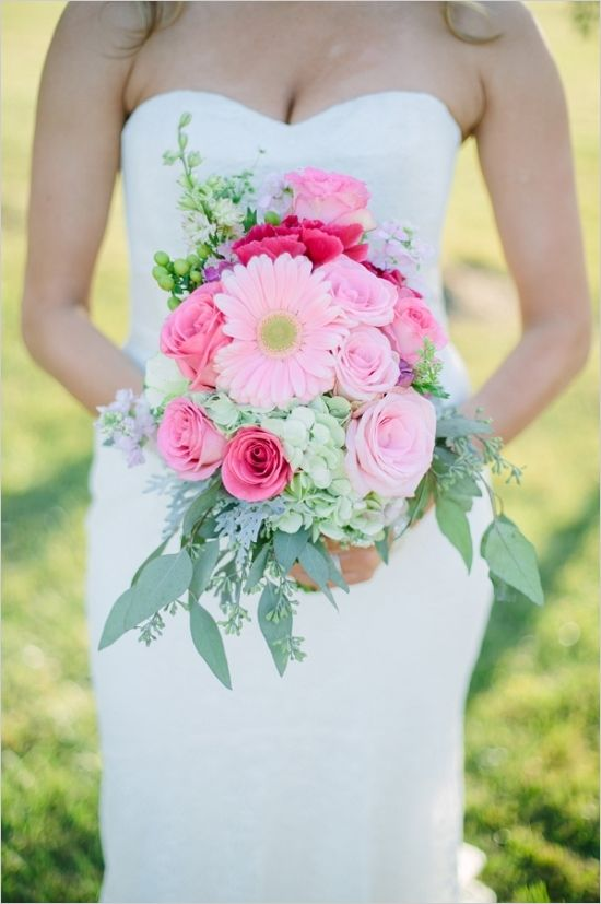 gerber daisy bouquet #gerberdaisy #bouquet #weddingchicks http://www.weddingchicks.com/2014/03/28/pink-wedding/