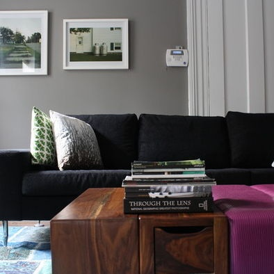 Gray Wall With A Black Sofa Couldnt Make The Much Darker Than Grey Living RoomsLiving