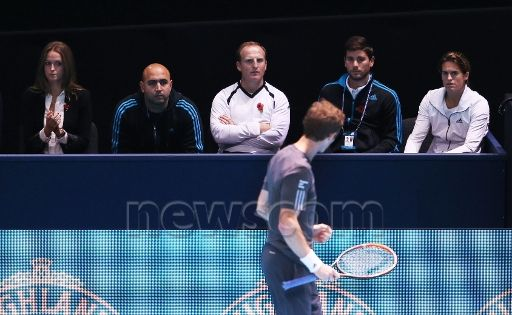 Andy Murray's box including Girlfriend Kim Sears left and Coach Amelie Mauresmo right Celebrates watch as Murray wins in Straight Sets over Milos Raonic ATP Tennis World Tour 2014 ATP World Tour Finals Day Three O2 Arena, Peninsula Square, London, United Kingdom - 11 Nov 2014