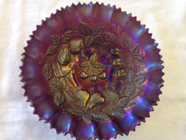 Rare vintage Northwood Amethyst Carnival Glass 3 fruits bowl ~ shimmering colors