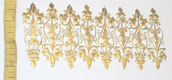 German Gold Foil Dresden miniature dollhouse style fence scroll work scrap sheet diecuts scrapbooking  trims craft paper embellishments