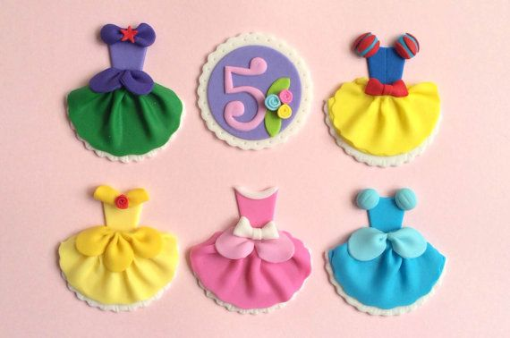 Disney Princess Dress Party Ariel Snow White Cinderella Aurora Belle Fondant Cupcake Toppers
