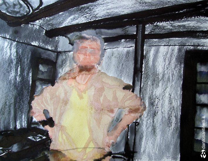 "Danilo Santinelli ""Xavi"" acrylic and ink on paper 65x50cm"