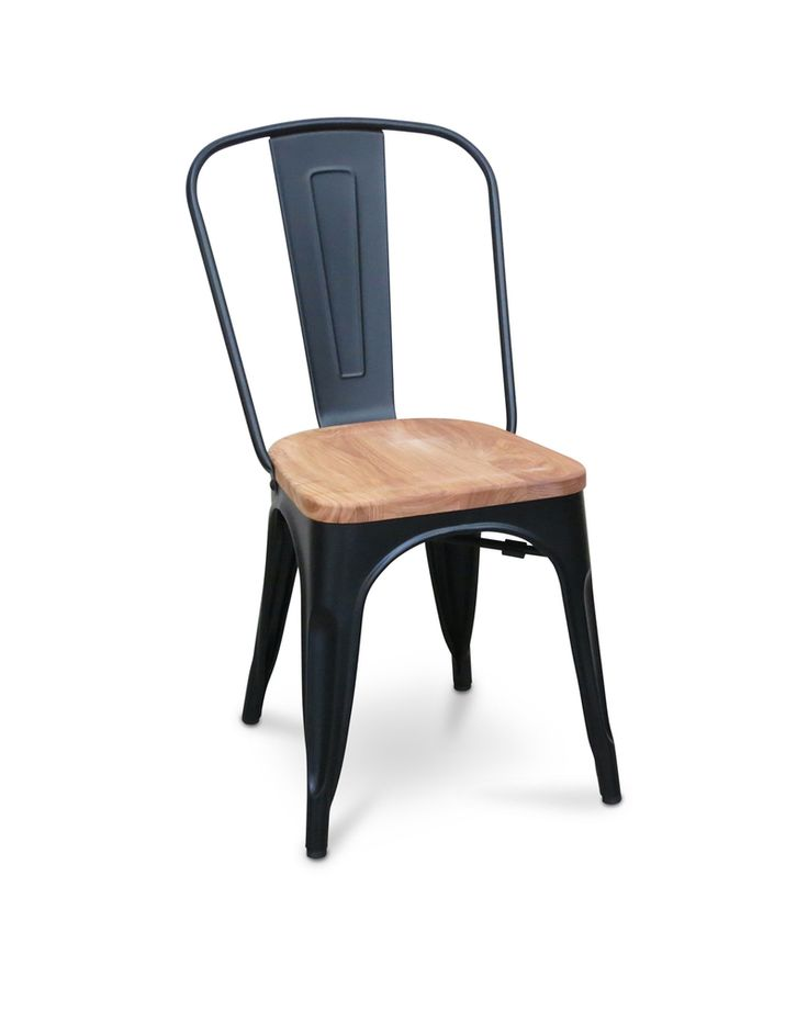 Tolix replica chair with solid ash seat - matt black