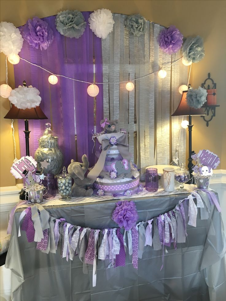 Grey and lavender baby shower.  Elephant theme.  So much fun.