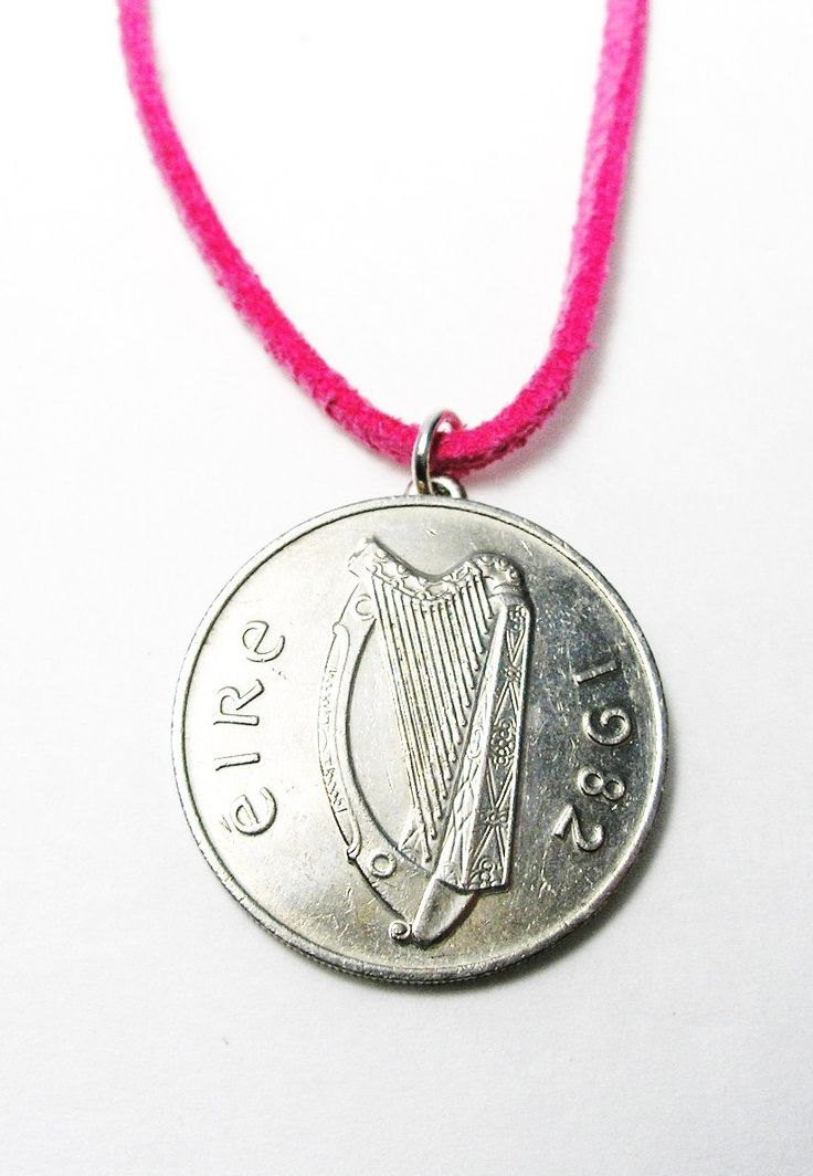 Women's 1982 Irish Coin Birth Year PINK Leather Necklace/1982 Irish 10 Pence by BridgetFainne on Etsy