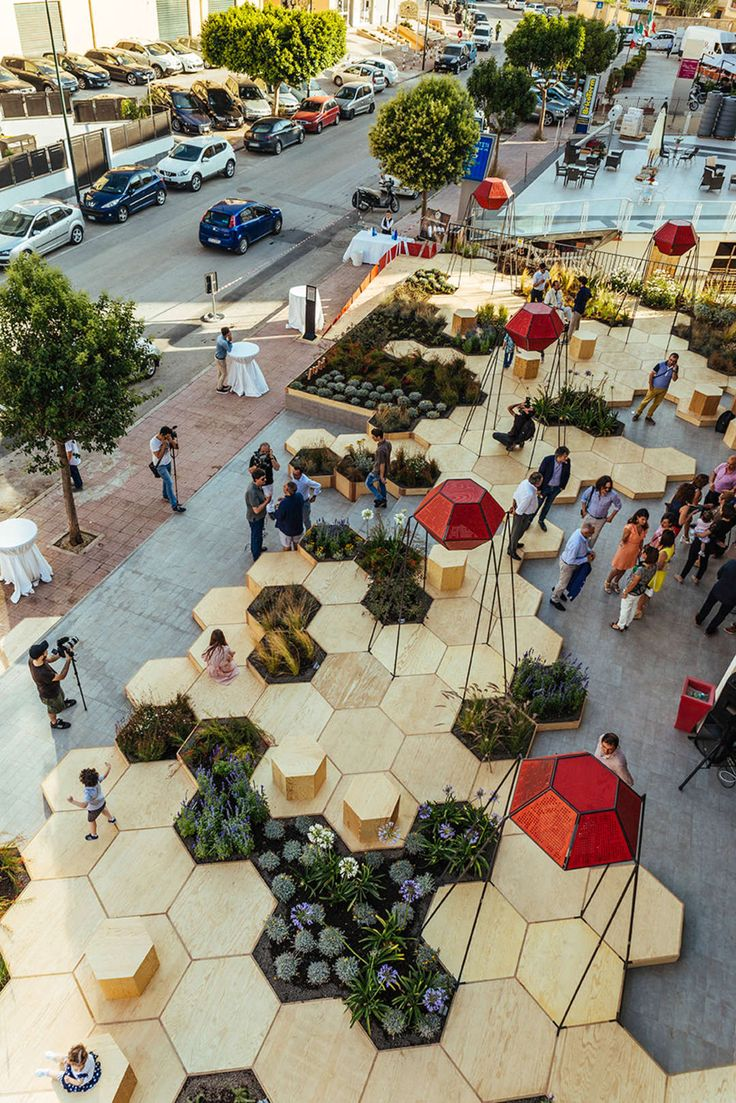 Pocket Park: Zighizaghi is a multi-sensorial urban garden created by OFL Architecture that stems from a collaboration with the client Milia Arredamenti and Farm Cultural ...