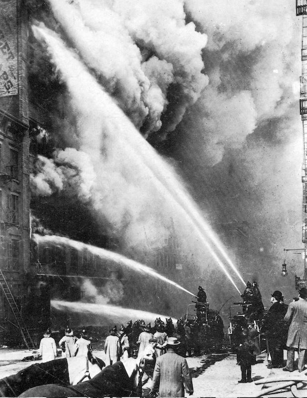 Triangle Shirtwaist Factory Fire in 1911, when workers trapped women and girls into the upper levels of the factory, which caught fire, killing 100's of women.