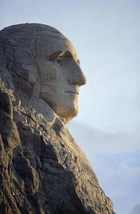A profile view of George Washington's face on Mount Rushmore