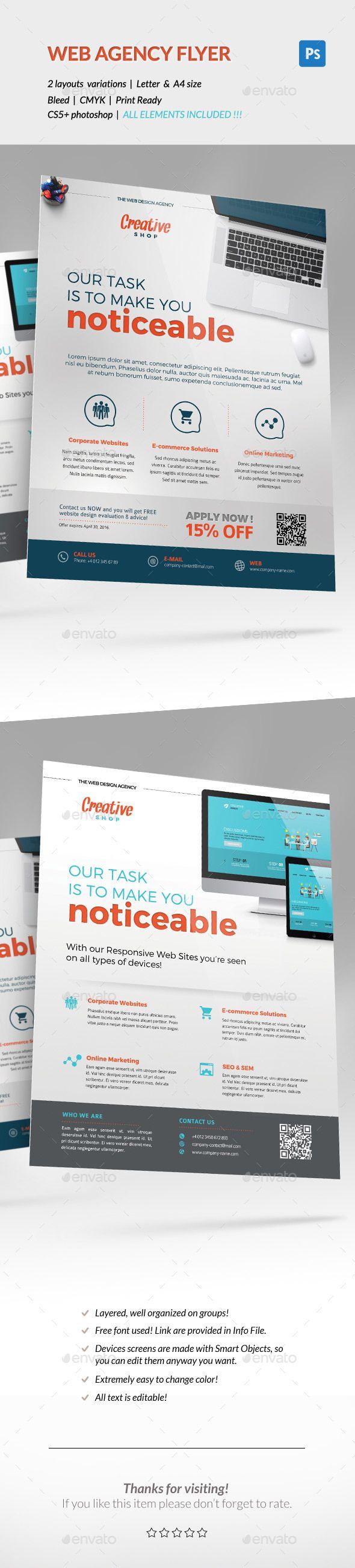 Web Design Agency Corporate Flyer Template PSD #design Download: http://graphicriver.net/item/corporate-flyer-web-design-agency-/14145902?ref=ksioks