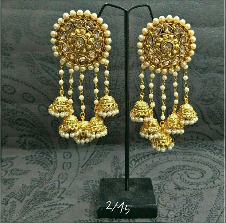 Indian Bollywood Jewelry Gold Plated Wedding Wear Traditional Polki Earring Set #VardhamanGoodwill