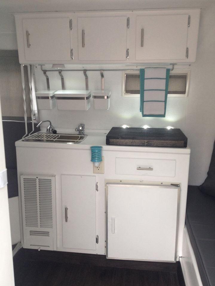 Light teal boler kitchen.