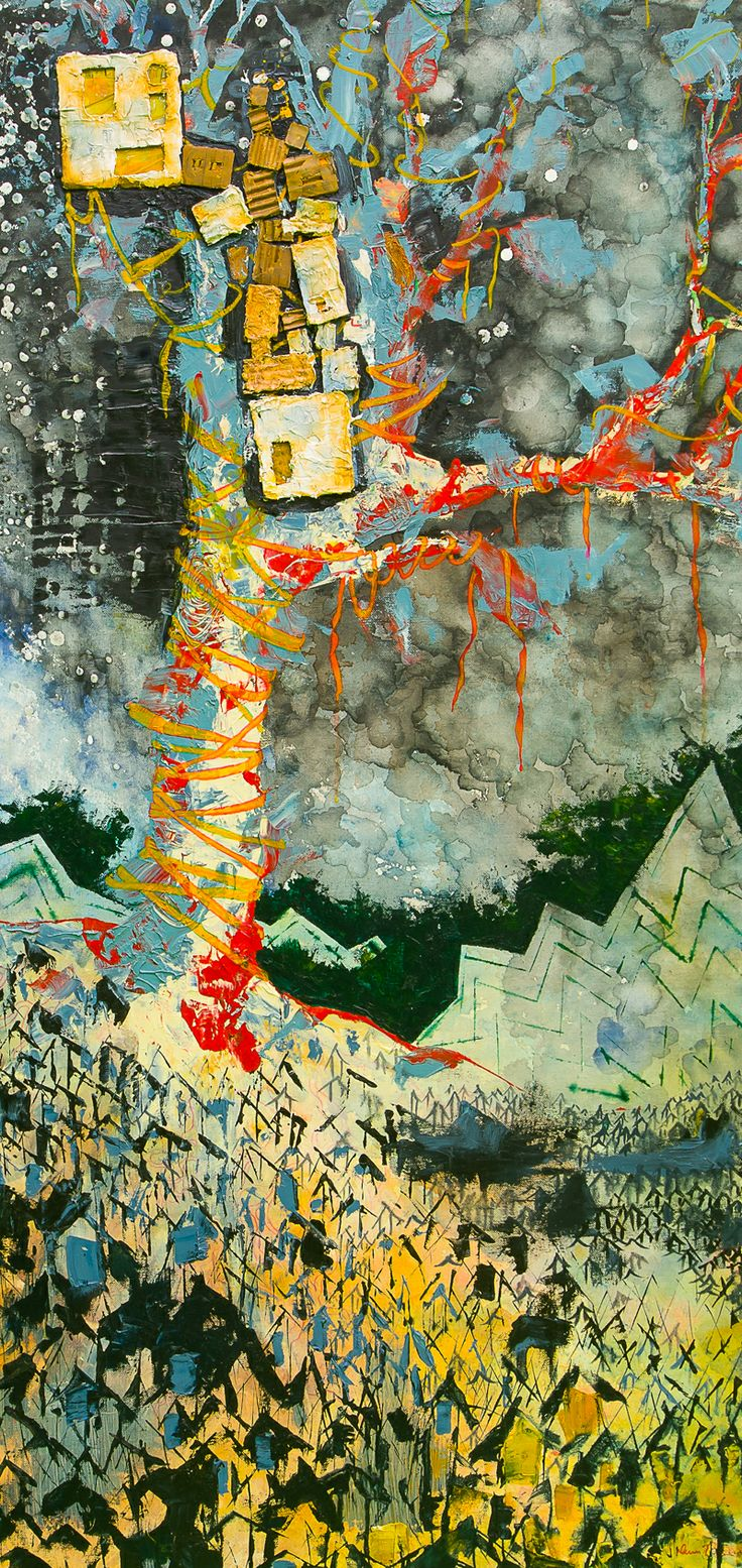 "Treehouse"" 24″x48″ mixed media 2011 Private collection Limited prints available www.DeserePressey.com"