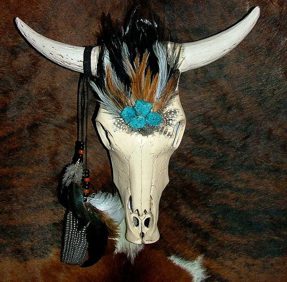 Ceramic Cow Skull with Feathers, Turquoise Stones, Leather and Beads
