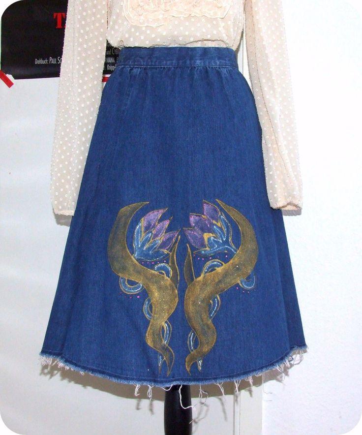 Vintage ADLINE Jeans Rock 60er 70er Hippie Gypsy Boho Skirt Blumen Handbemalt  in Kleidung & Accessoires, Vintage-Mode, Vintage-Mode für Damen | eBay!