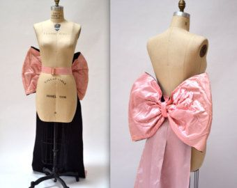 Vintage Giant Pink Bow Belt with Train// 80s Prom Dress Vintage Drag Queen Play Boy Bunny Pageant Costume