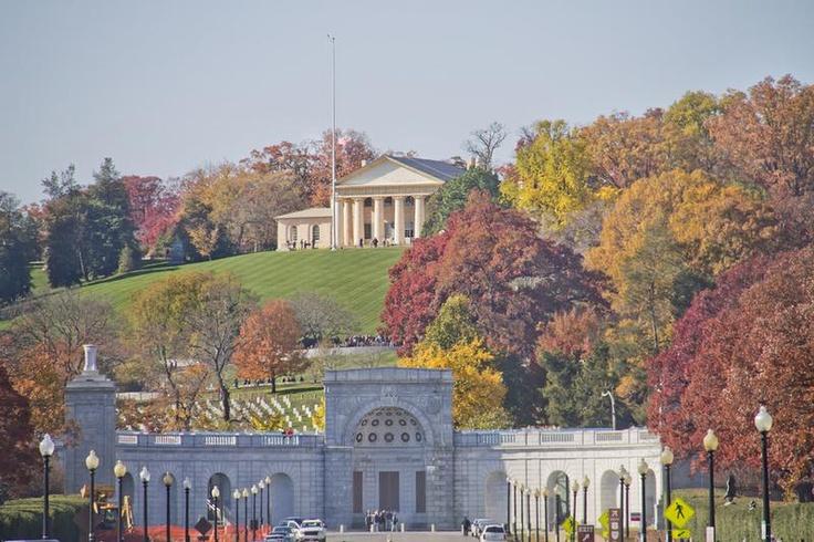 Arlington Cemetery Memorial Entrance and former home of Robert E. Lee Virginia ,at Fall