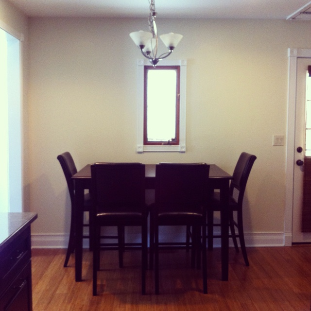 Attractive Saving Room By Pushing The Dining Table Against The Wall N Utilizing. Dining  ...