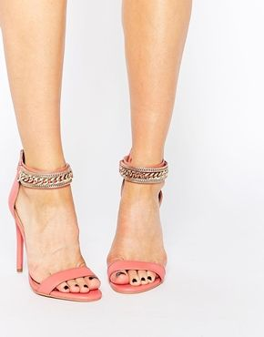 Forever Unique Totem Embellished Barely There Leather Heeled Sandals