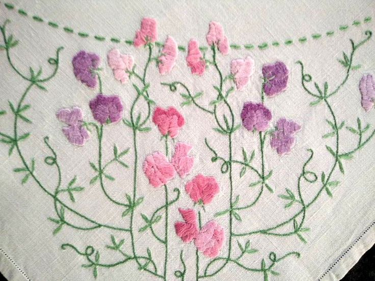 Glorious Pastel Raised SWEET-PEAS ~ Vintage Heavily Hand Embroidered Tablecloth FOR SALE • AUD 311.55 • See Photos! Money Back Guarantee. Track Page Views With Auctiva's FREE Counter 222562192062