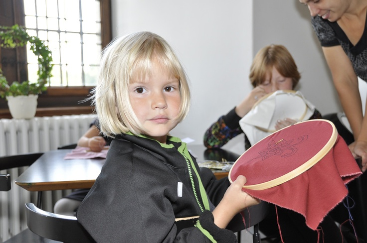 A lovely young guest in the embroidery workshop