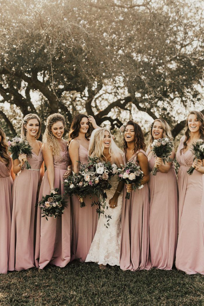 8811e0809e71 We love these mismatched dusty pink bridesmaid dresses from David's Bridal  | Quartz bridesmaid dresses | This Golden Vintage Villas Wedding is a  Classic ...