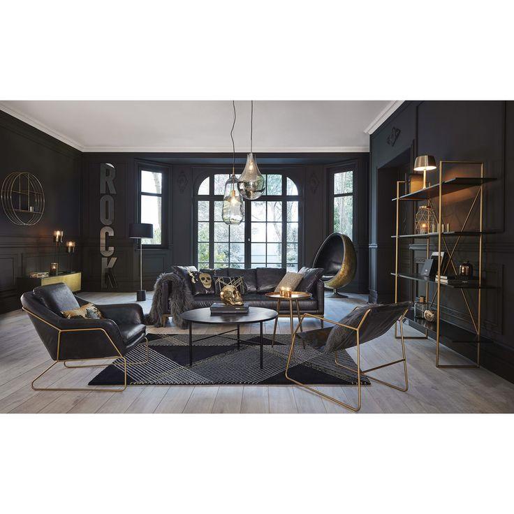 Meuble TV 2 portes en métal noir et doré   Maisons du Monde
