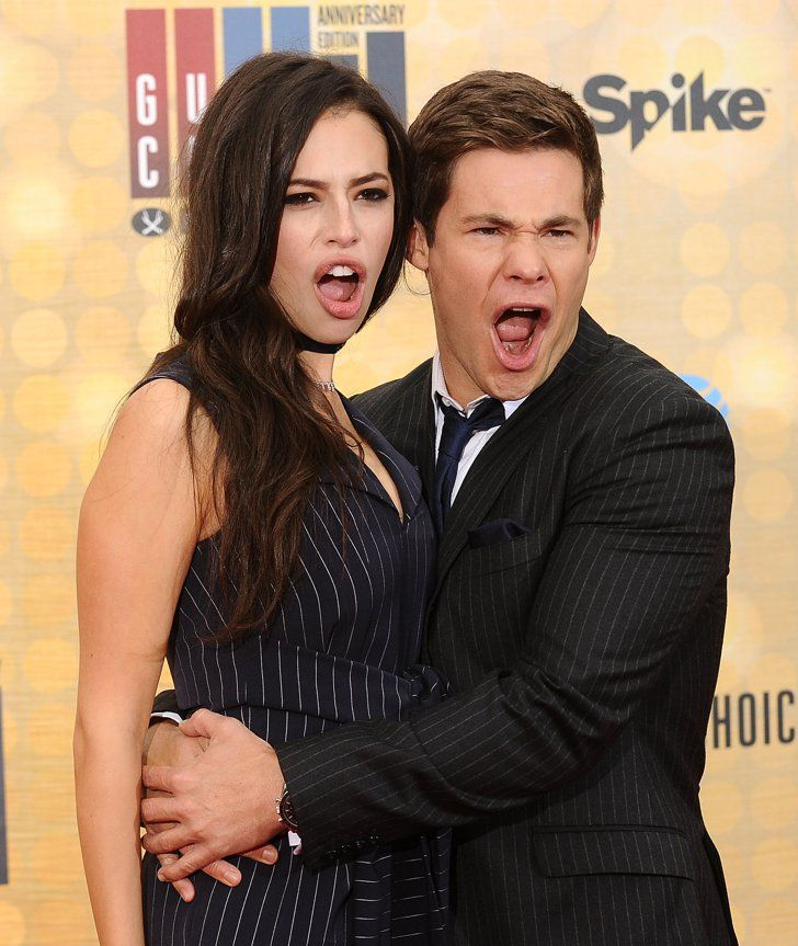 Pin for Later: 23 Times Adam DeVine Just Couldn't Keep a Straight Face When He Let His Girlfriend, Chloe Bridges, in on the Fun