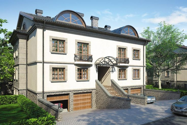 Jedno wspólne wejście, we wnętrzu rozgałęzia się symetrycznie tworząc zespół 2 klatek schodowych, którymi można dotrzeć do dwóch mieszkań z każdej strony.