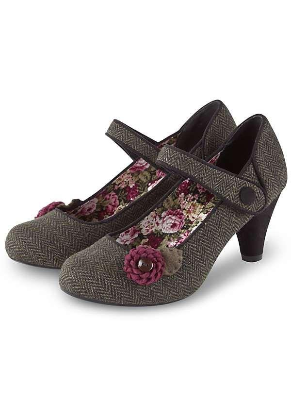 Unique Tweedy Corsage Shoes by Joe Browns