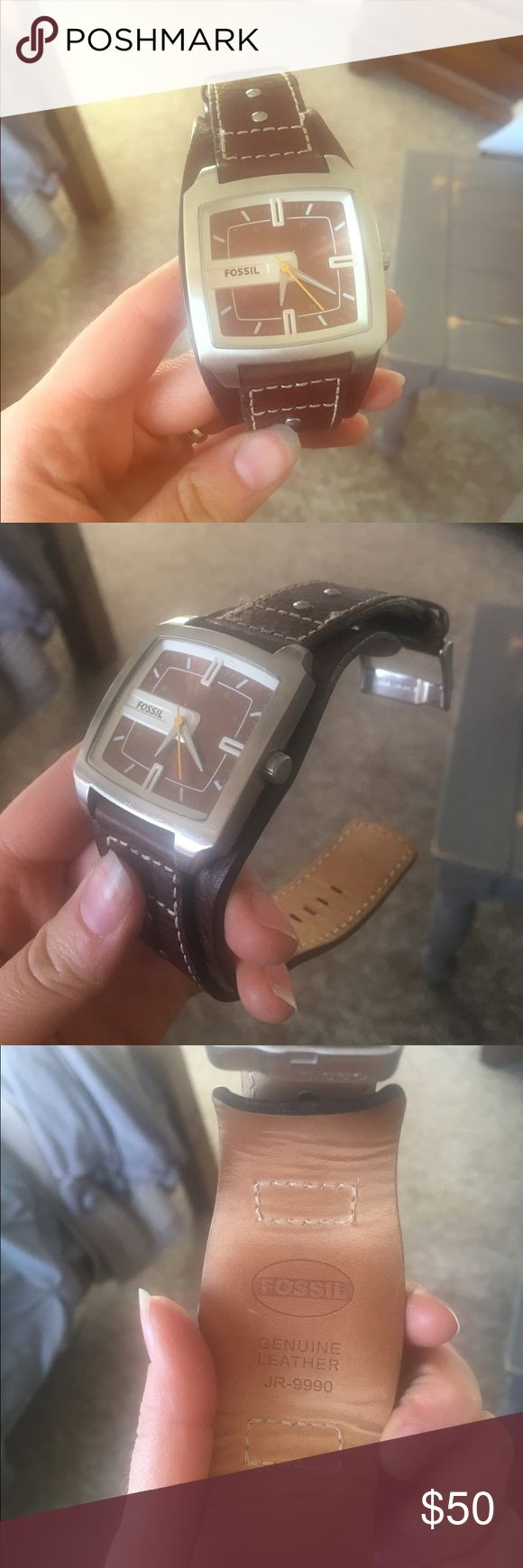 Fossil Leather Watch Men's Brown leather watch band with a brown watch face. He wore it once and it's in perfect condition. He just has too many watches Fossil Accessories Watches