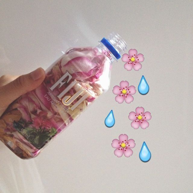 Flower petals in Fiji water bottle